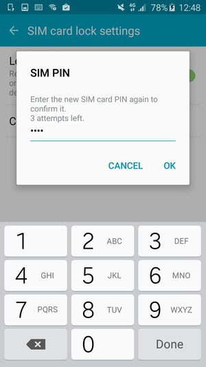 Confirm your new SIM PIN and select OK