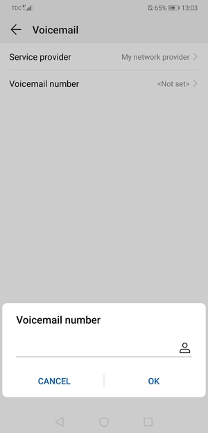Enter the Voicemail number and select OK