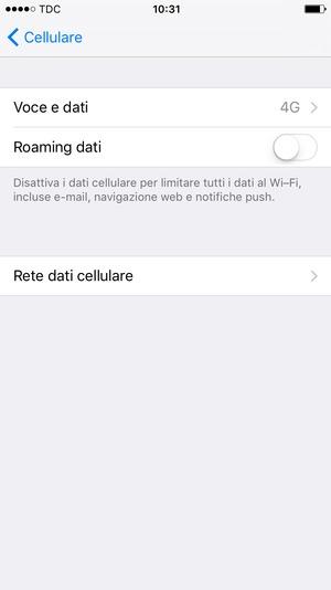 rete dati cellulare iphone 6 Plus