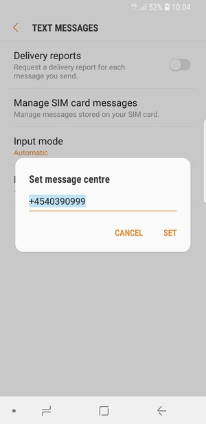 Enter the Message centre number and select SET