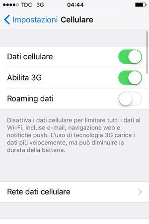 impostazioni dati cellulare iphone