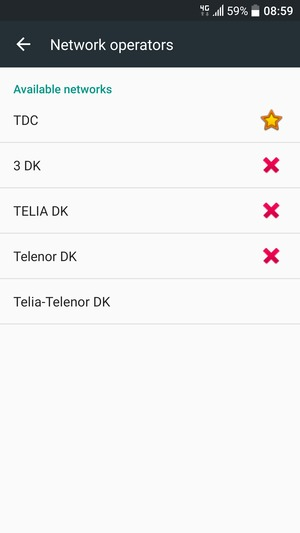 Select a network operator from the list