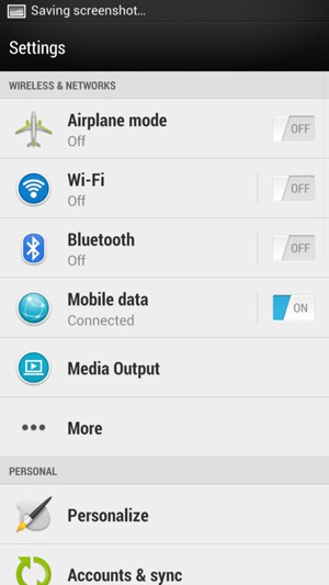 Return to the Settings menu and select Mobile data
