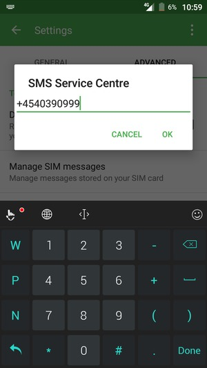 Enter the SMS Service Centre number and select OK