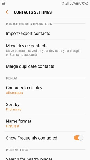 Import contacts - Samsung Galaxy S7 Edge - Android 7 0 - Device Guides