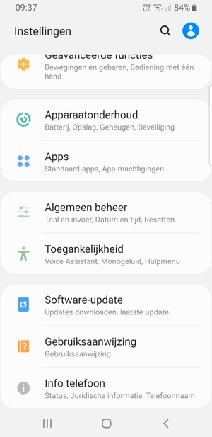 Scroll naar en selecteer Software-update
