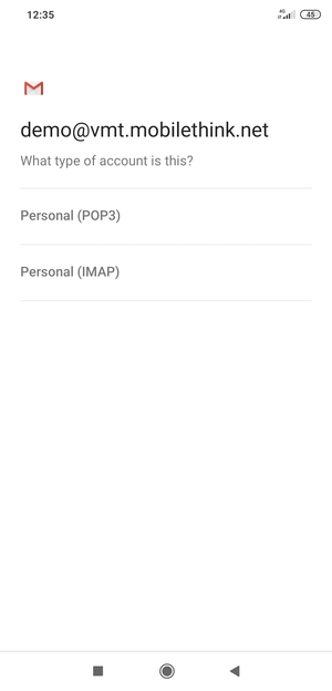 Select Personal (POP3) or Personal (IMAP)