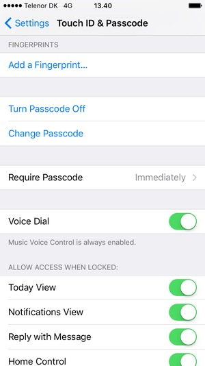 Select Change Passcode