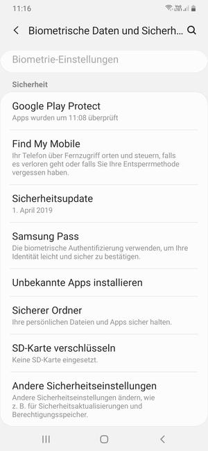 Sichern Von Handy Samsung Galaxy A70 Android 90
