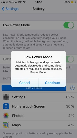 Select Low Power Mode and select Continue