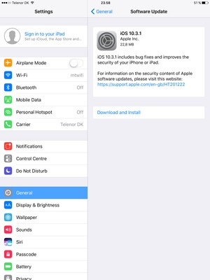 Update software - Apple iPad Air 2 - iOS 10 - Device Guides
