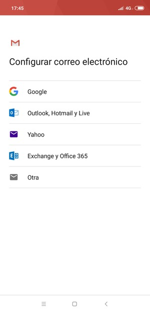 Seleccione Exchange y Office 365
