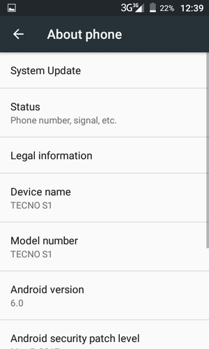 Update software - Tecno S1 - Android 6 0 - Device Guides