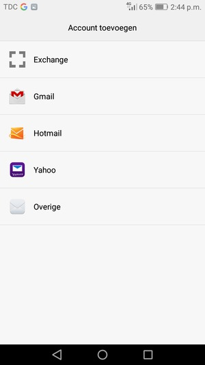 Selecteer Gmail of Hotmail