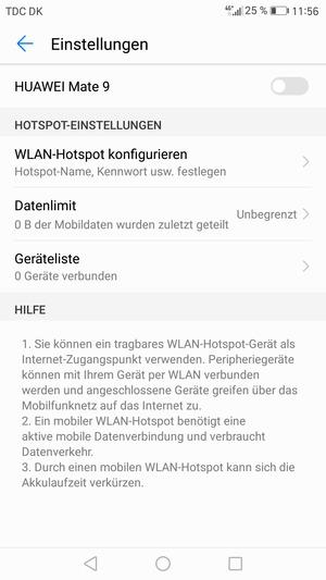 verwendung des handys als modem huawei mate 9 android 7 0 device guides. Black Bedroom Furniture Sets. Home Design Ideas