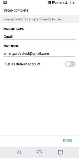Give your account a name and enter your name. Select DONE