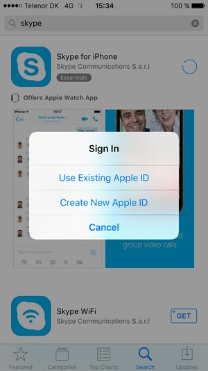 Select Use Existing Apple ID