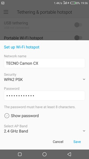 Use phone as modem - Tecno Camon CX - Android 7 0 - Device