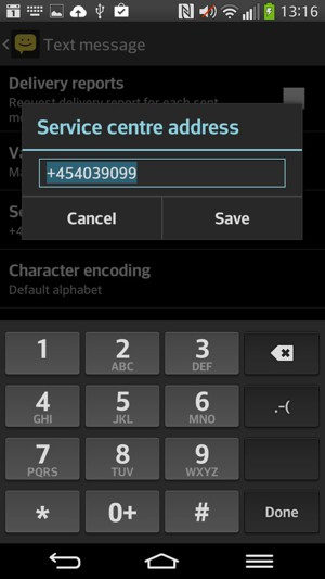Enter the Service centre number and select Save