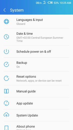 Update software - Tecno Android - Android 8 1 - Device Guides