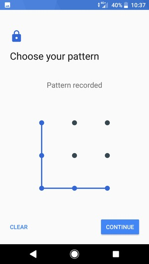 Draw an unlock pattern and select CONTINUE