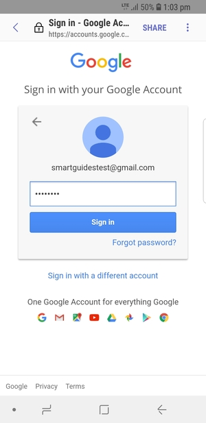 Enter your Gmail password and select Sign in