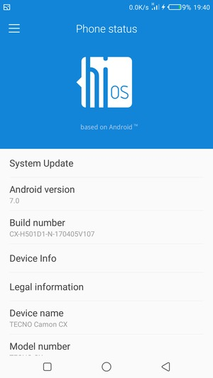 Update software - Tecno Camon CX - Android 7 0 - Device Guides