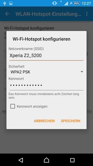 verwendung des handys als modem sony xperia m4 aqua android 5 0 device guides. Black Bedroom Furniture Sets. Home Design Ideas