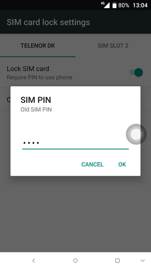 Enter your Old SIM PIN and select OK