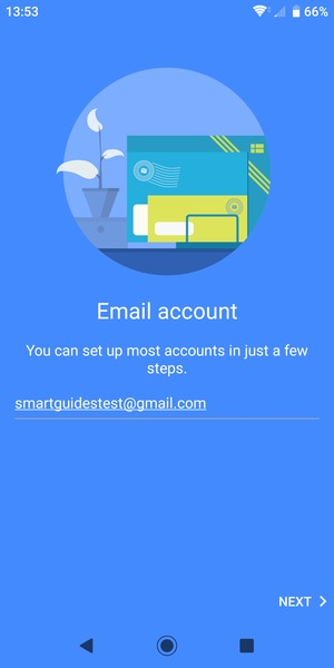 Enter your Gmail address and select NEXT