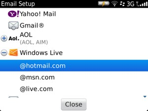Select @hotmail.com