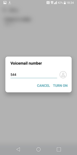 Enter the Voicemail number and select TURN ON