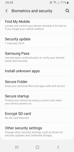 Secure phone - Samsung Galaxy S9 - Android 9 0 - Device Guides