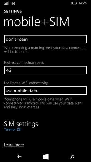 Scroll to and select SIM settings
