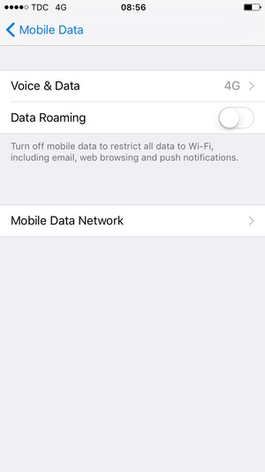 Set Data Roaming to OFF