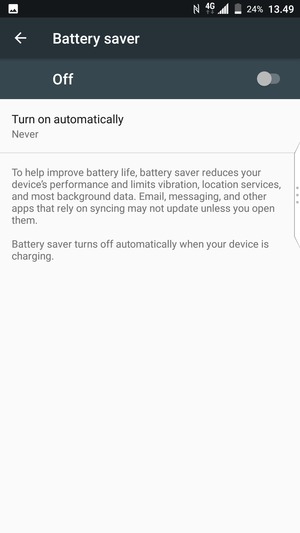 Turn on Battery saver