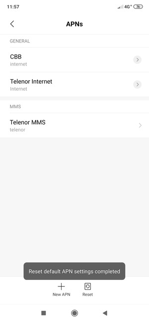 Your phone will reset to default Internet and MMS settings