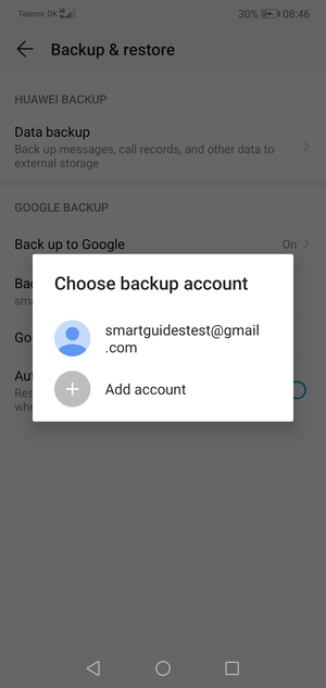 Select your backup account