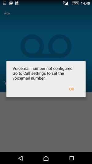 If your voicemail is not set up, select OK