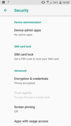 To change the PIN for the SIM card, return to the Security menu and scroll to and select SIM card lock