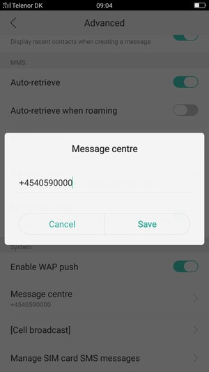 Enter the Message centre number and select Save
