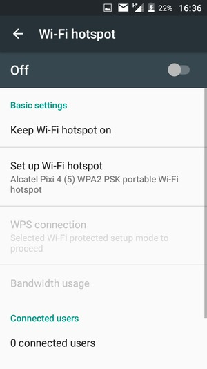 Select Set up Wi-Fi hotspot