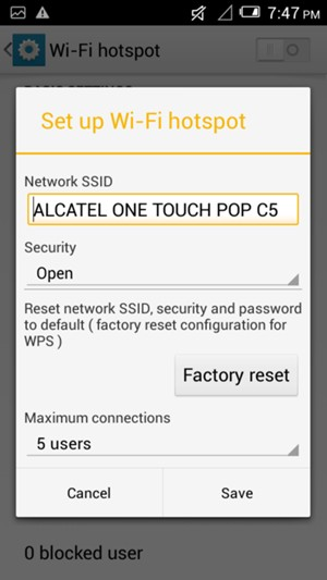 Use phone as modem - Alcatel One Touch Pop C5 - Android 4 2 - Device