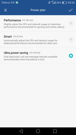 If you would like to enable Ultra power saving mode, select Ultra power saving