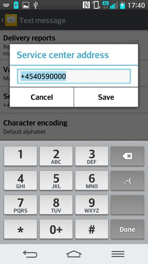 Set up SMS - LG G2 - Android 4 4 - Device Guides