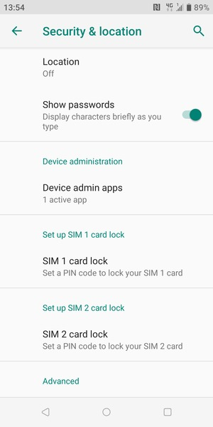 Scroll to and select SIM 1 card lock or SIM 2 card lock
