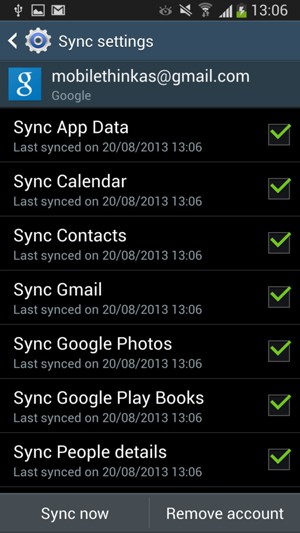 Check all the checkboxes and select Sync now