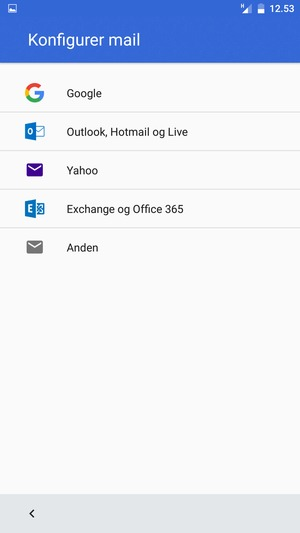 Vælg Outlook, Hotmail og Live