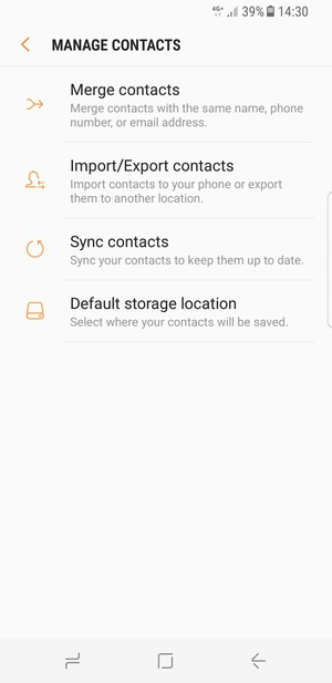 Import contacts - Samsung Galaxy S8 - Android 7 0 - Device