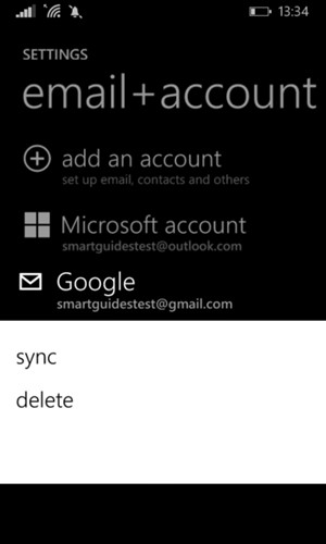 Press and hold your Google account and select sync